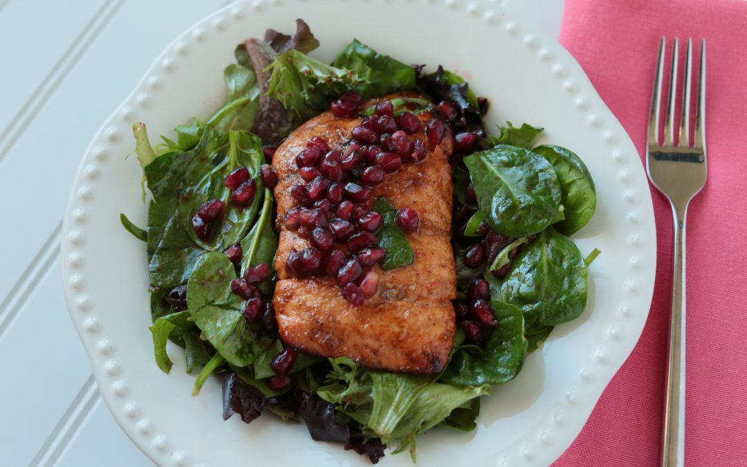 Low-FODMAP Glazed Salmon & Pomegranate Salad