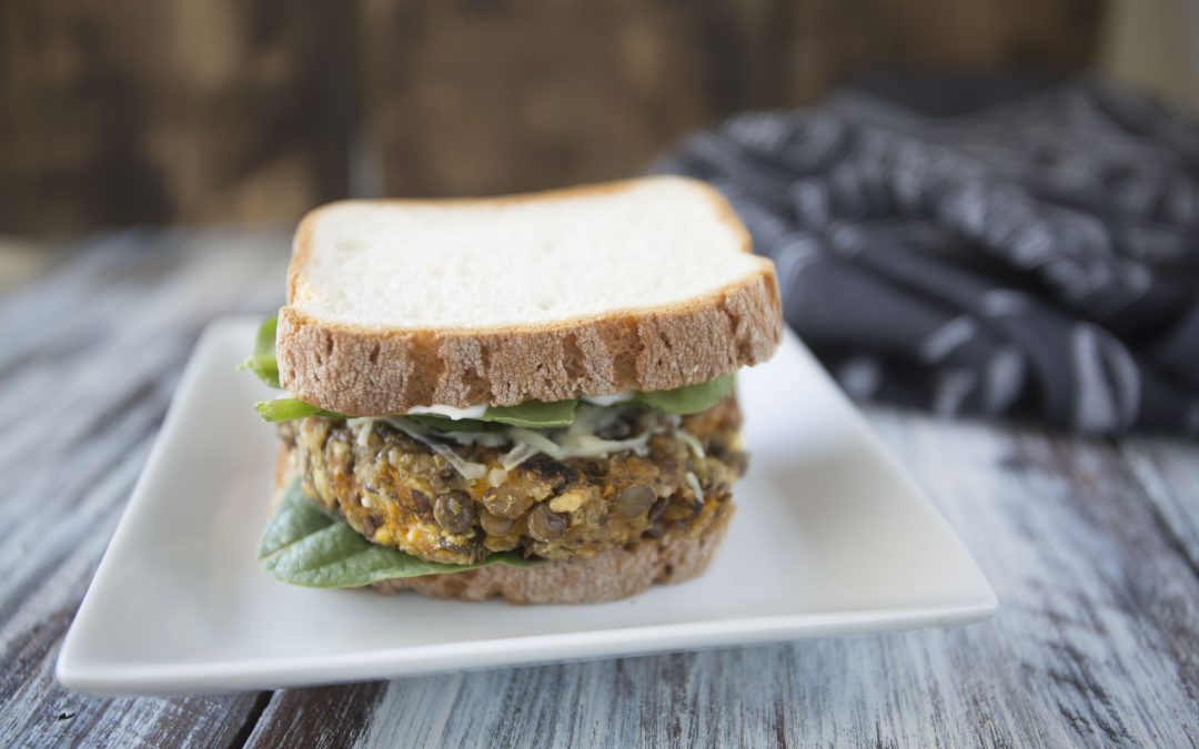 Low-FODMAP Butternut Squash and Lentil Veggie Burgers