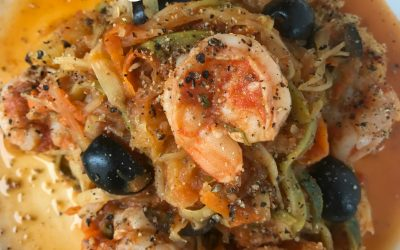 Low-FODMAP Shrimp with Vegetable Pasta